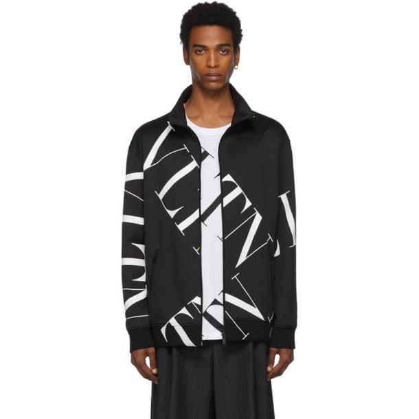 Valentino Black Macrogrid Zipped Sweater