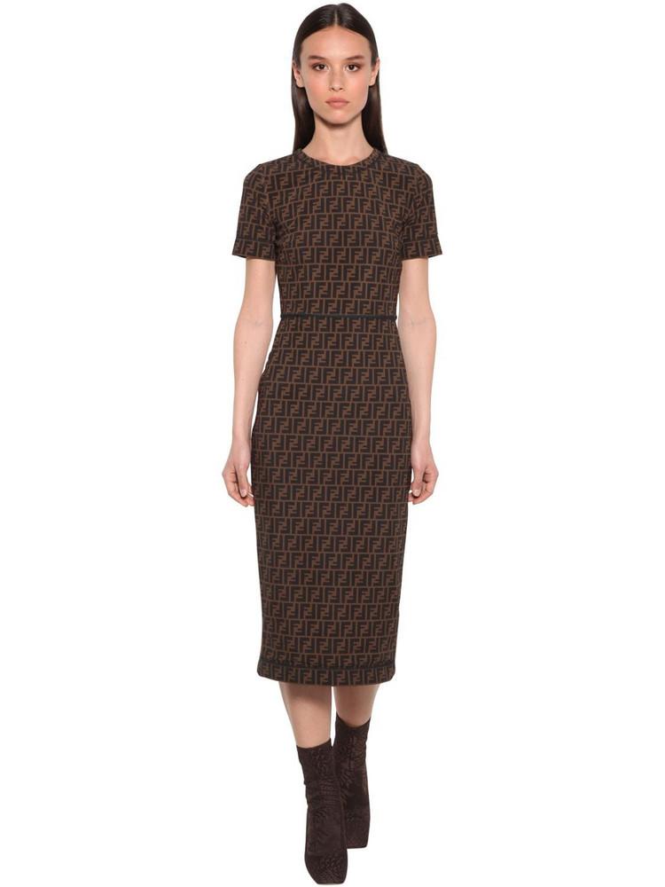 FENDI All Over Logo Intarsia Midi Dress in black / brown