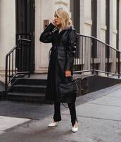 coat,black coat,leather,long coat,white shoes,pumps,black pants,slit pants,black bag,white top