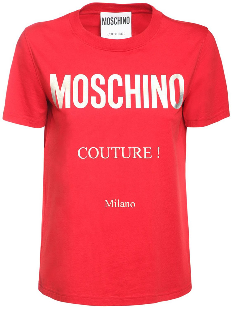 MOSCHINO Couture Logo Cotton Jersey Slim T-shirt in red