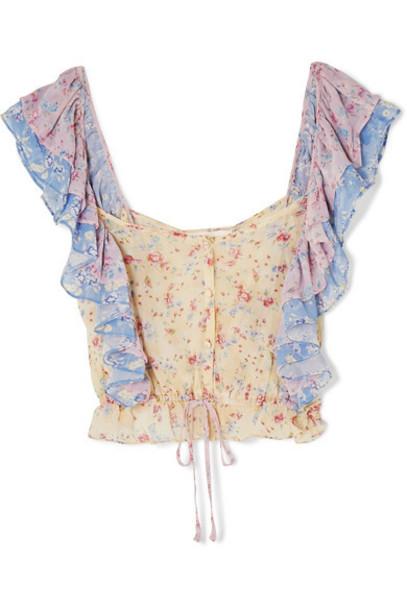 LoveShackFancy - Avery Cropped Ruffled Floral-print Silk-georgette Top - Baby pink