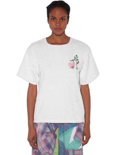 NATASHA ZINKO Cotton T-shirt W/ Terry Cloth Patch in white