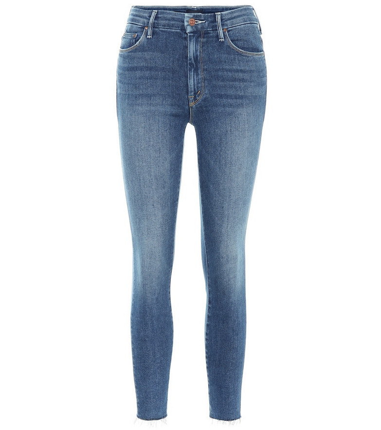 Mother The Looker Ankle Fray skinny jeans in blue
