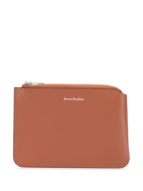 Acne Studios top-zip leather wallet in brown