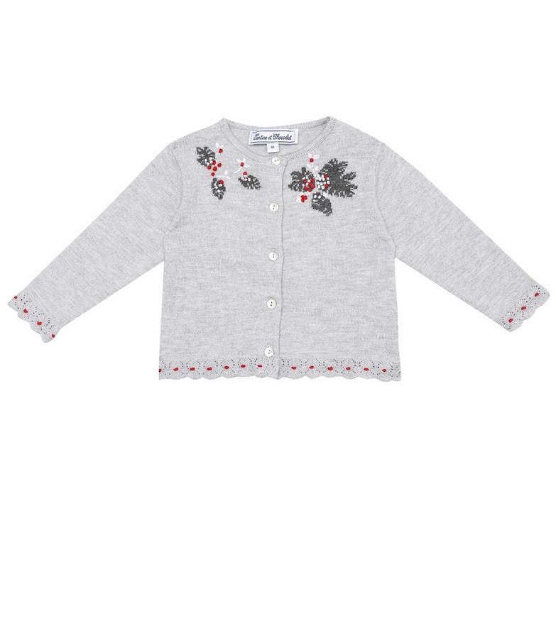 Tartine et Chocolat Baby embroidered cardigan in grey