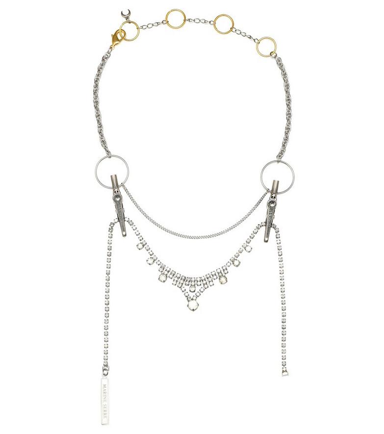 Marine Serre Embellished necklace in silver