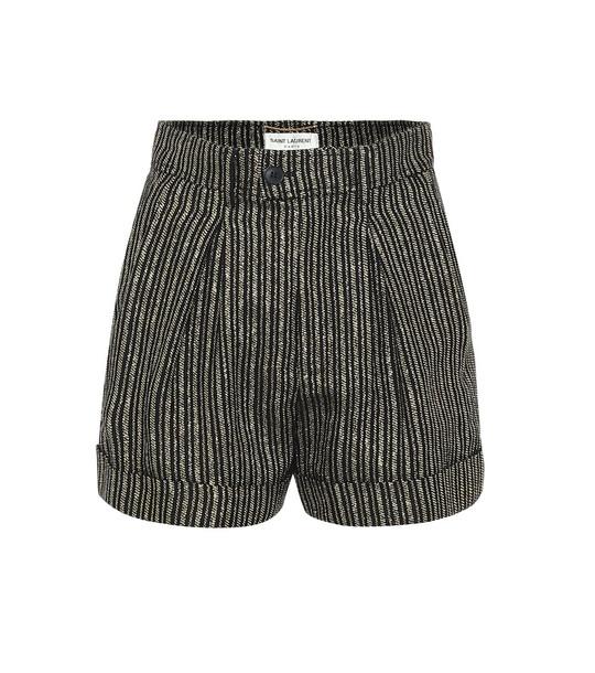 Saint Laurent High-rise striped linen-blend shorts in black