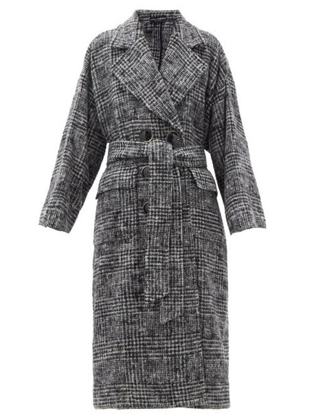 Dolce & Gabbana - Belted Prince Of Wales-check Wool-blend Coat - Womens - Grey
