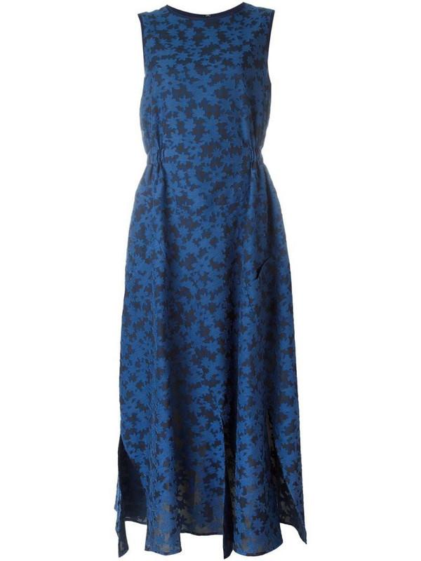 Julien David calico print flared dress in blue
