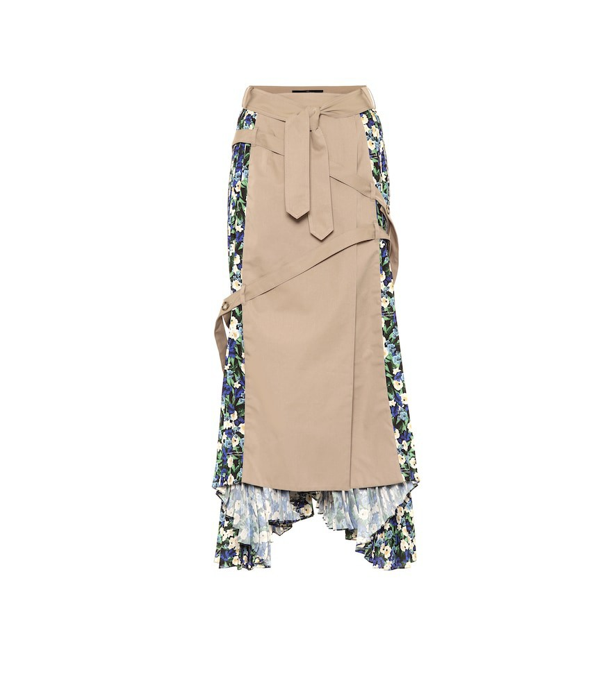 Rokh Floral cotton skirt in blue