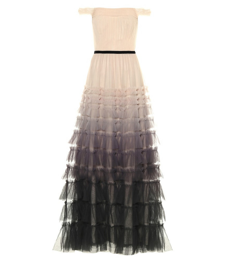 Marchesa Notte Ombre tulle gown in beige