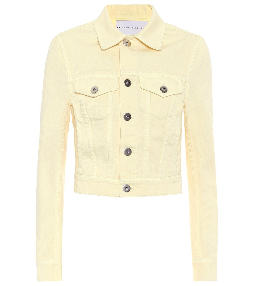 Matthew Adams Dolan Cropped denim jacket in yellow