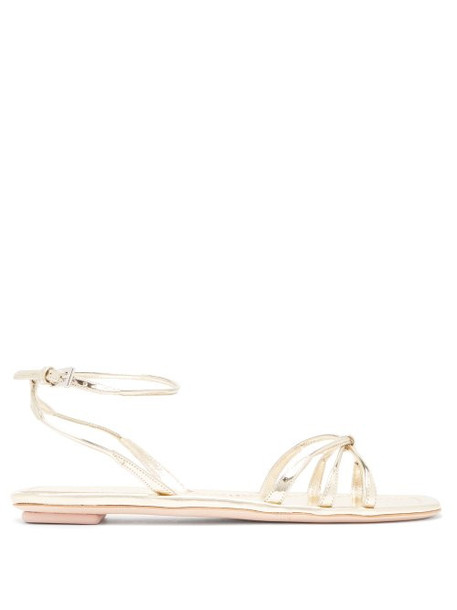 Prada - Knot Front Metallic Leather Sandals - Womens - Gold