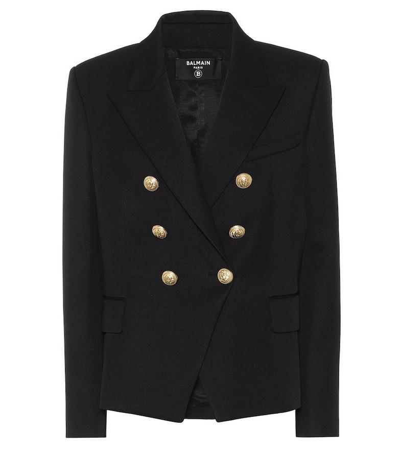 Balmain Double-breasted wool blazer in black