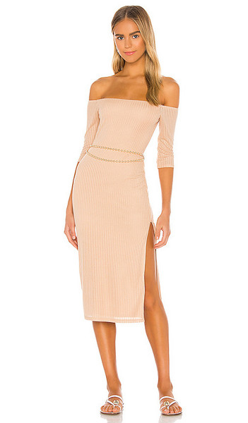 Privacy Please Joana Midi Dress in Tan in taupe