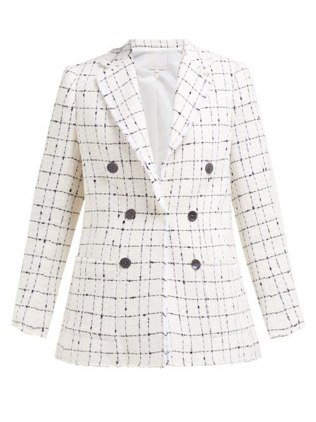 Rebecca Taylor - Checked Double Breasted Cotton Blend Tweed Blazer - Womens - Ivory