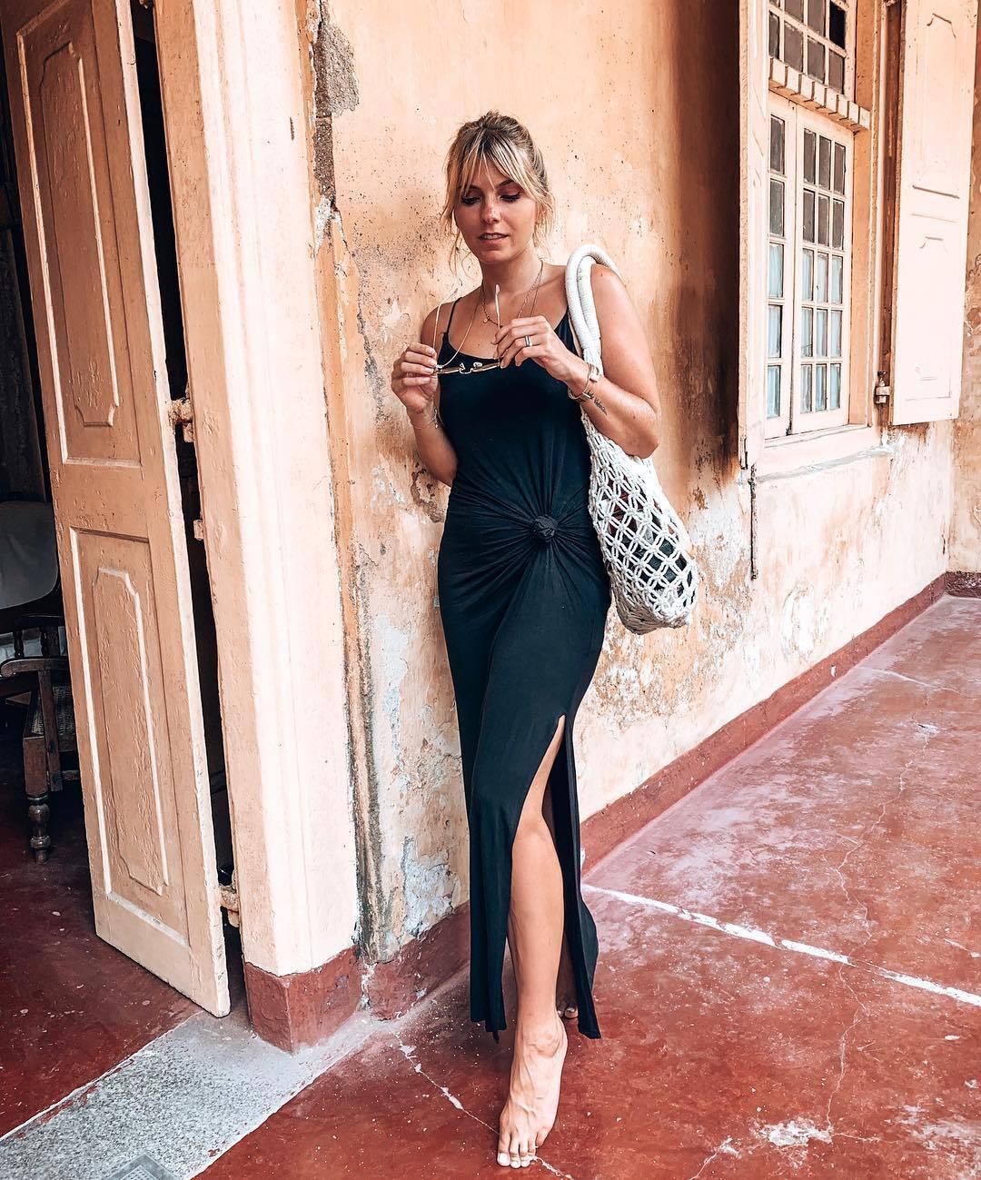 dress maxi dress black dress slit dress shoulder bag