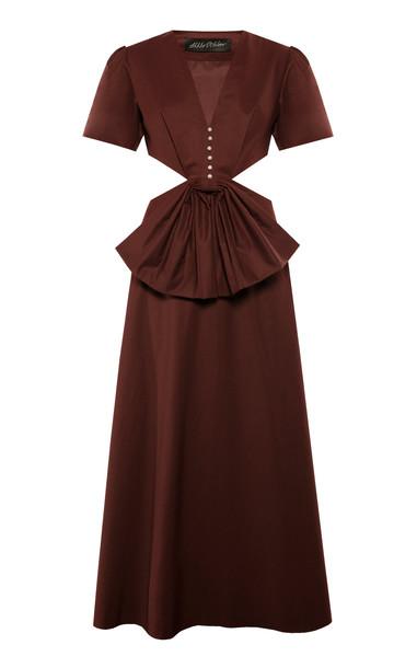 Anna October Lora Loves Red Cotton-Blend Dress in burgundy