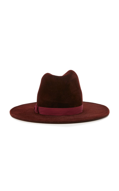 Yestadt Millinery Exclusive Peaks Wide-Brimmed Felt Fedora in burgundy