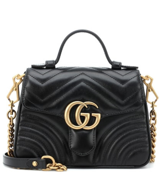 Gucci GG Marmont Mini leather shoulder bag in black