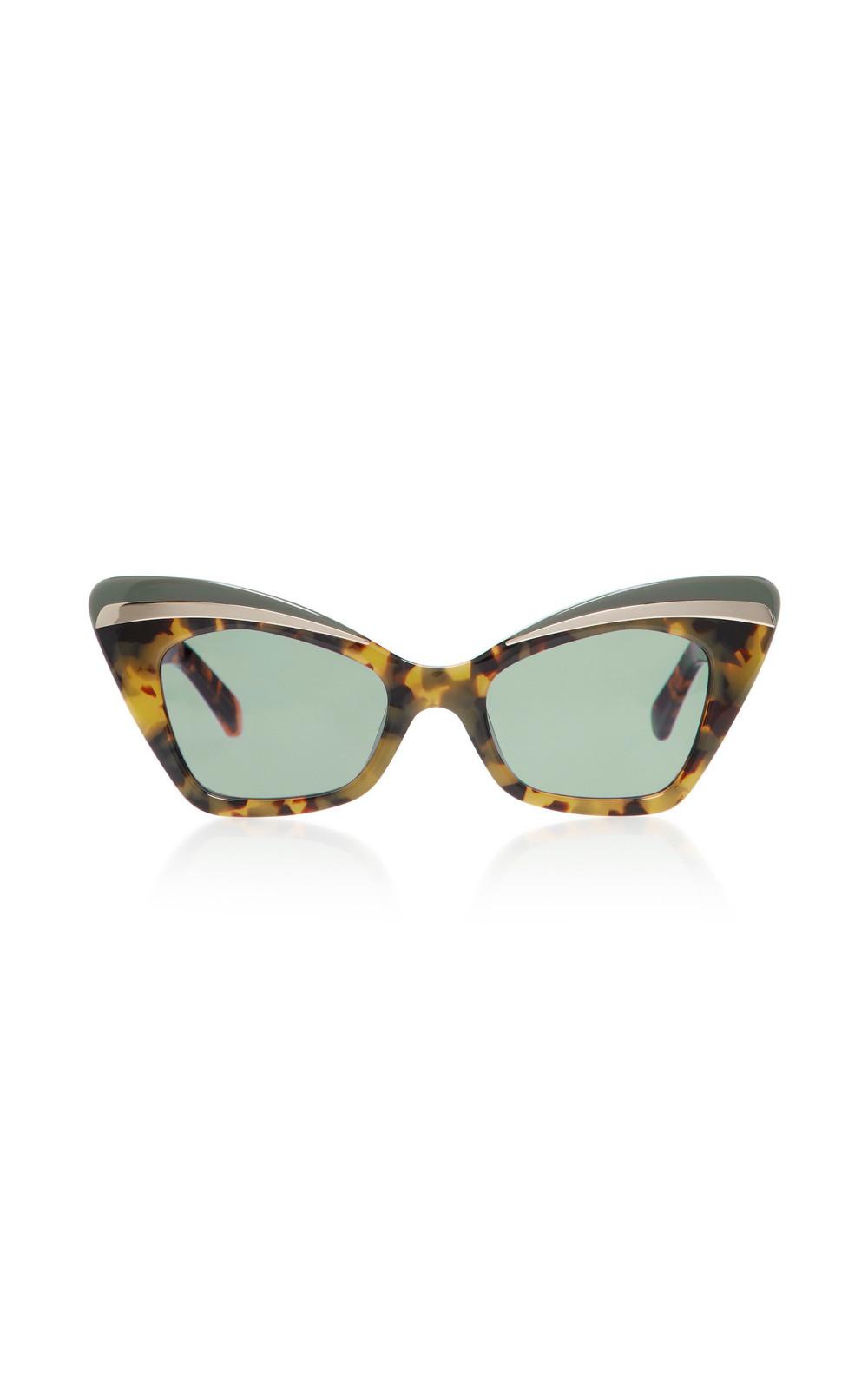 Karen Walker Babou Cat-Eye Tortoiseshell Acetate and Metal Sunglasses in brown