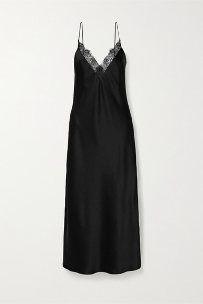 Anine Bing - Katy Lace-trimmed Silk-charmeuse Midi Dress - Black