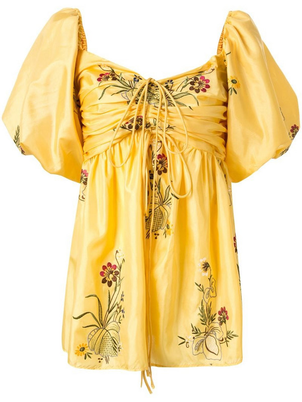 Romance Was Born Queens Hamlet embroidered top in yellow