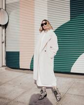 shoes,ankle boots,snake print,white coat,double breasted,teddy bear coat,turtleneck dress,white dress,maxi dress,black sunglasses