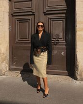 skirt,midi skirt,fendi,black blazer,belt bag,black sandals