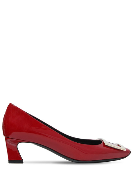 ROGER VIVIER 45mm Trompette Patent Leather Pumps in red