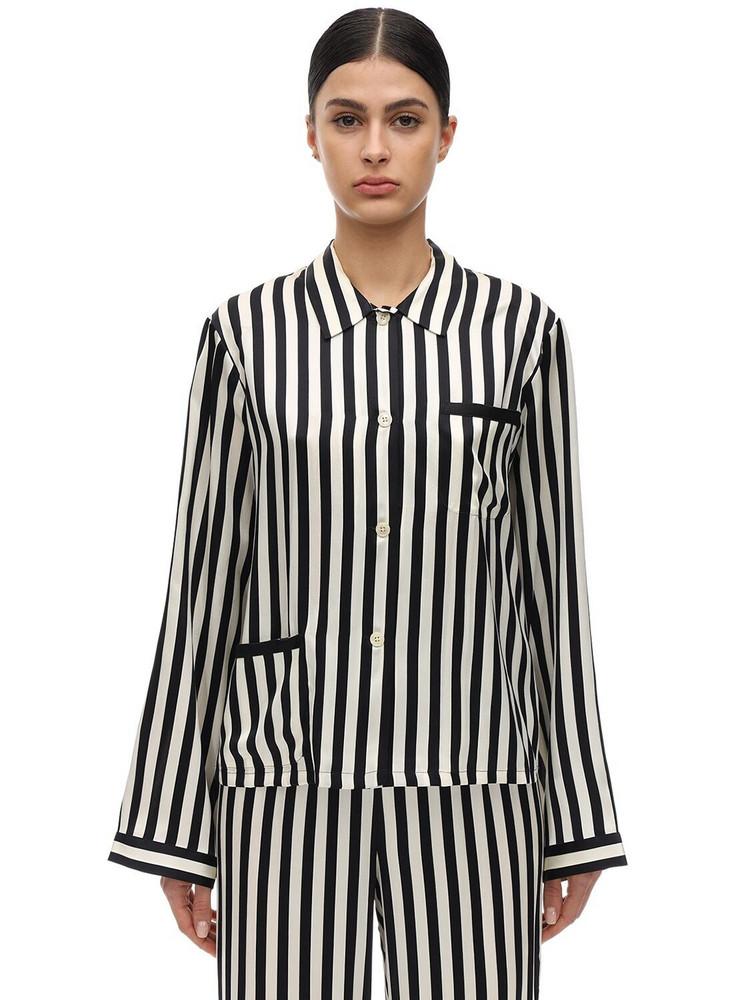 MORGAN LANE Ruthie Striped Silk Charmeuse Pajama Top in black / ecru