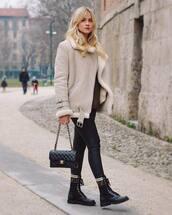 jacket,biker jacket,shearling jacket,grey jacket,black boots,lace up boots,fendi,black jeans,black skinny jeans,black bag,chanel bag,sweater
