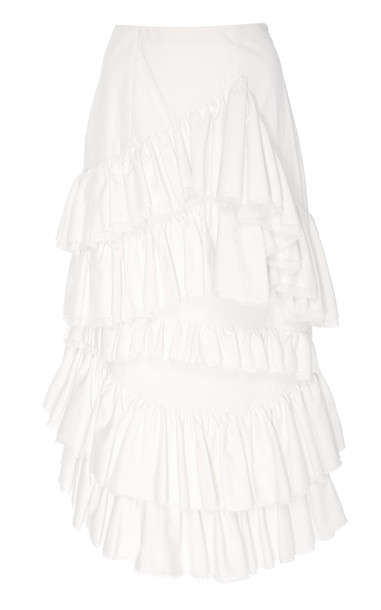 Brock Collection Olmo Cotton Ruffle Skirt in white