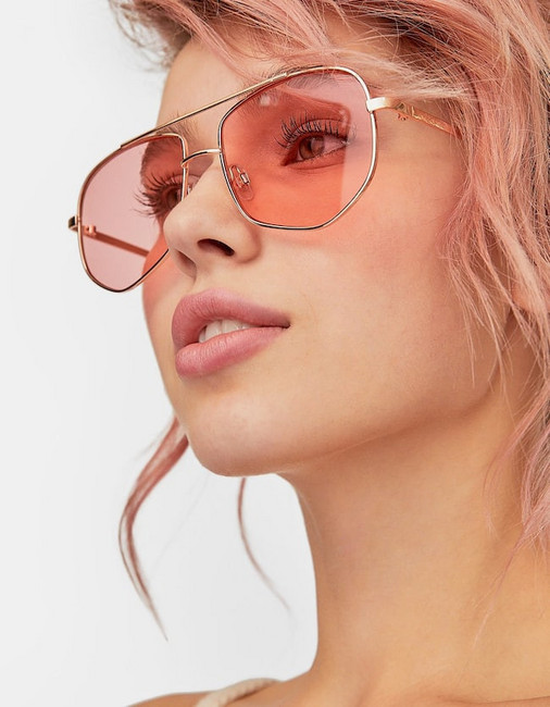 Stradivarius Pink Geometric Metal Sunglasses In Dusty Rose