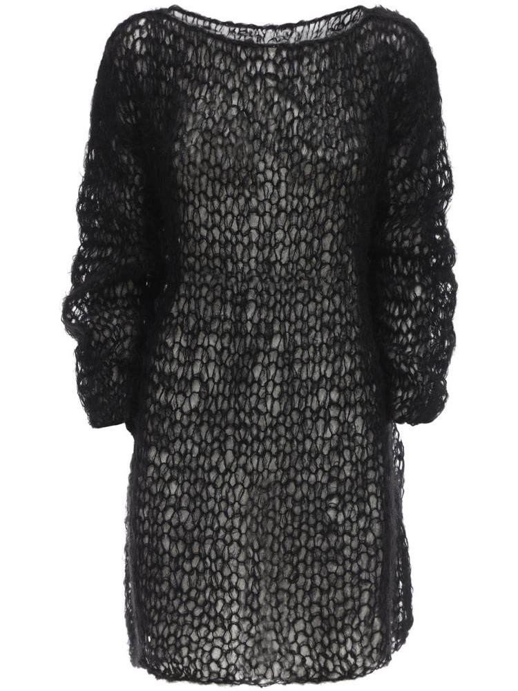 GUDRUN & GUDRUN Folva Mohair Blend Knit Mini Dress in black