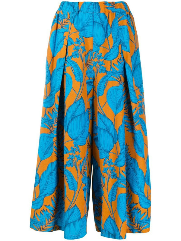 Zucca tropical pattern palazzo pants in blue