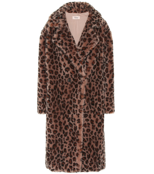 Yves Salomon Meteo leopard-print wool coat in brown