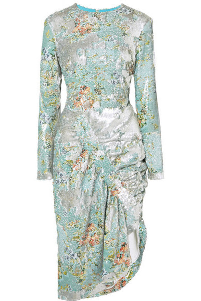 Preen by Thornton Bregazzi - Daisy Ruched Floral-print Sequined Crepe Midi Dress - Blue