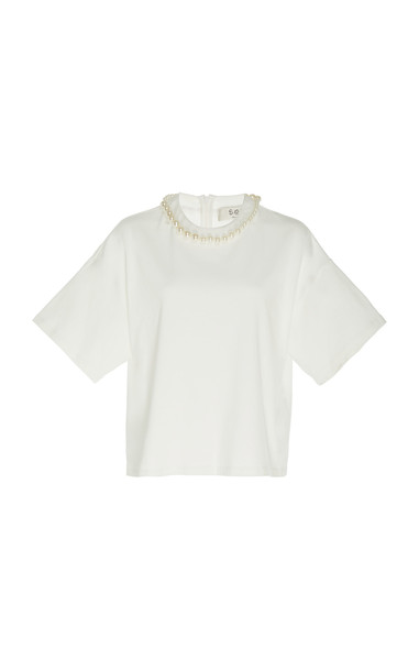 Sea Pearl Embellished T-Shirt in white