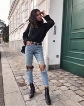 shoes,black boots,lace up boots,ripped jeans,black belt,black sweater,turtleneck sweater,black bag