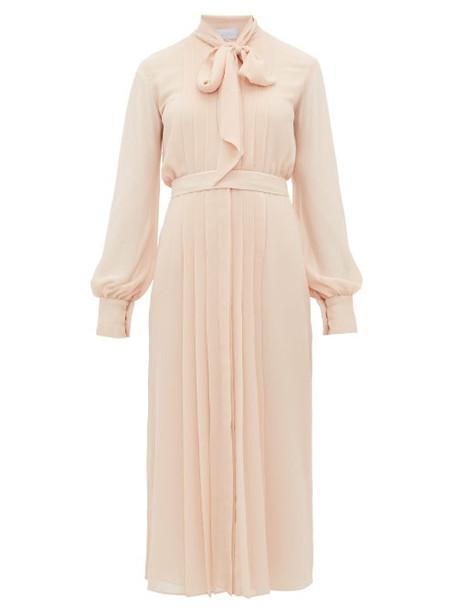 Luisa Beccaria - Pussybow Pleated Chiffon Dress - Womens - Light Pink