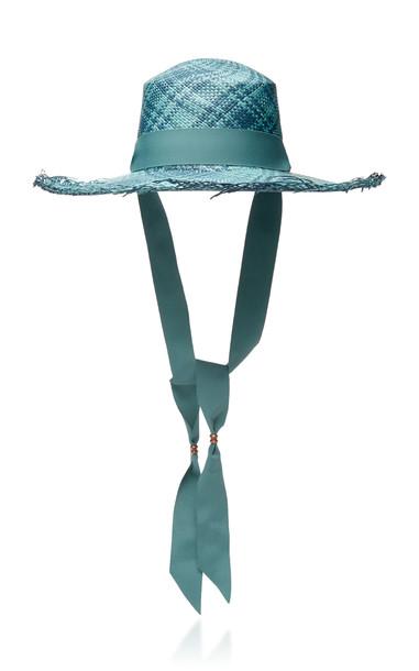 Sensi Studio Plaid Grosgrain-Trimmed Straw Hat Size: M