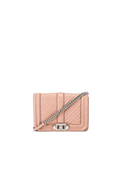 Rebecca Minkoff Chevron Quilted Small Love Bag in beige