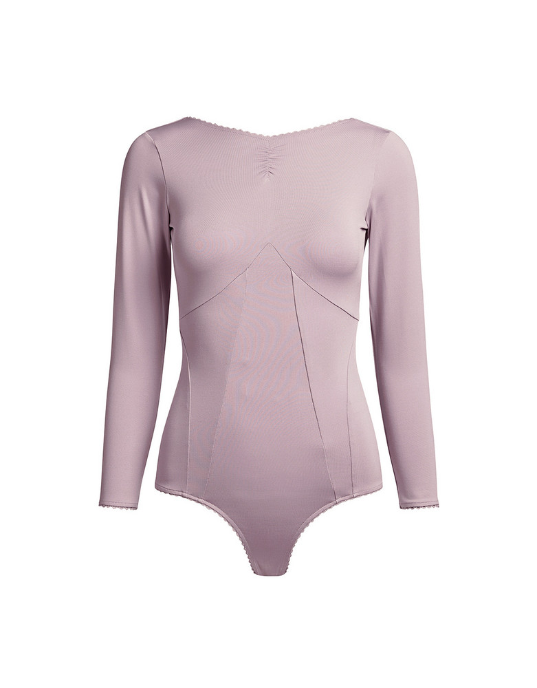 Alexa Chung Long Sleeve Open Back Bodysuit Light Lilac