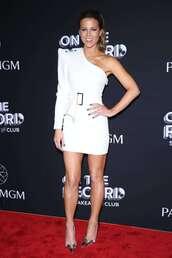 dress,mini dress,white,white dress,one shoulder,one shoulder dress,kate beckinsale,celebrity