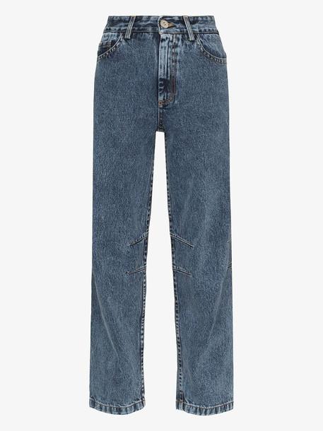 Matthew Adams Dolan high rise curved leg jeans in blue