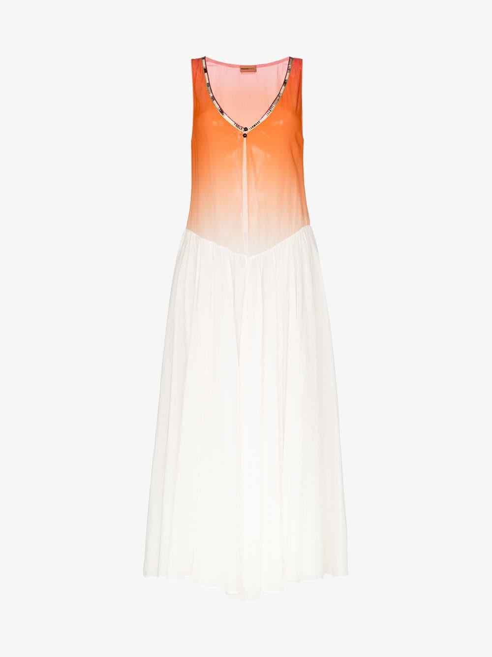 Missoni Mare sleeveless zig zag trim cotton dress in orange / white