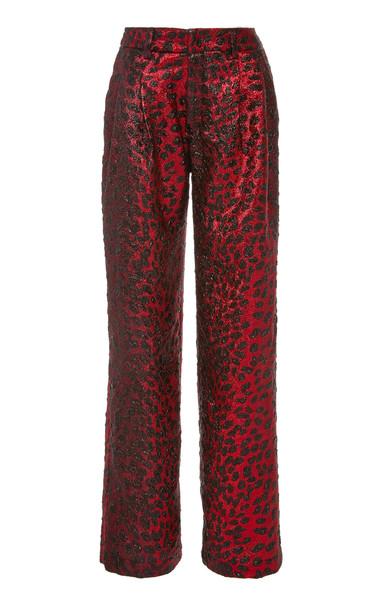 Libertine Night Leopard Wide Leg Pants in red
