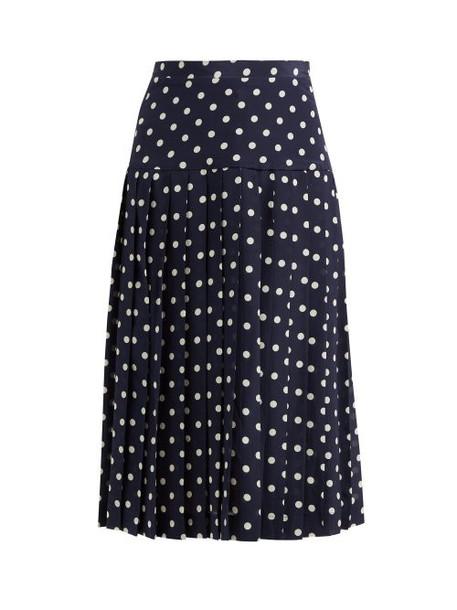 Alessandra Rich - Pleated Polka Dot Silk Midi Skirt - Womens - Navy White