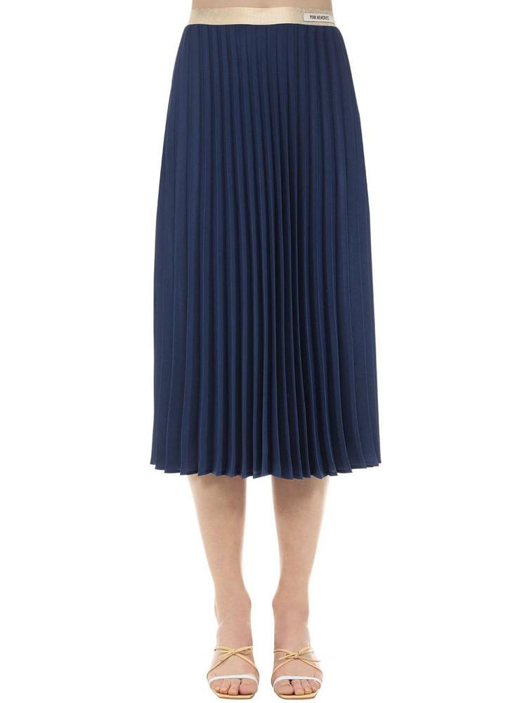 PINK MEMORIES Pleated Crepe Midi Skirt in navy